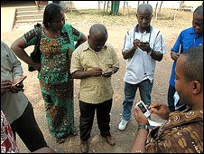 Field team synchronizes mobile devices, pic credit: DataDyne.org
