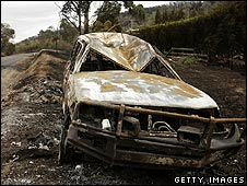 A burned out car in Steel's Creek, Victoria