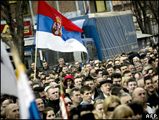 Protest against Kosovan independence in Mitrovica (10 February 2009)