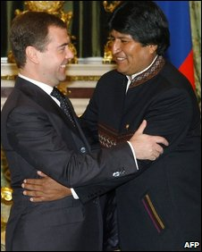 Russian President Dmitry Medvedev (left) and Bolivian president Evo Morales (right)