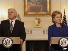 Steinmeier with US secretary of state Clinton