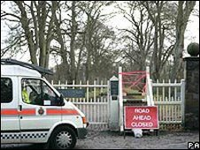 Police van outside Dunham Park, near Altrincham