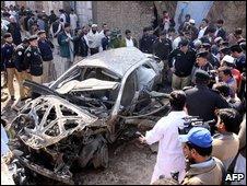 Scene of bomb blast in in Peshawar  earlier in February