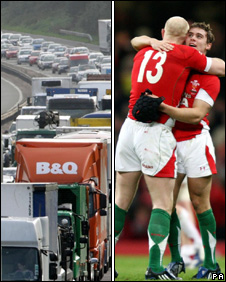 M4 traffic and Wales at the Millennium Stadium