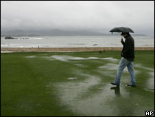 Rain at the Pebble Beach golf course in California, 16 Feb