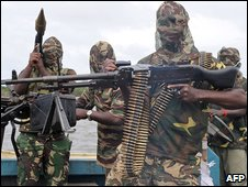 File photo shows fighters of the Movement for the Emancipation of Niger Delta (Mend)