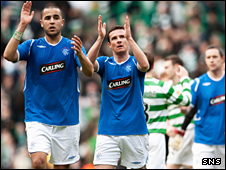 Rangers players at the end of Sunday's goalless draw at Celtic Park