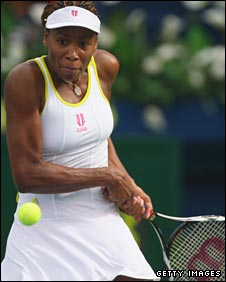 venus Williams in action at the Dubai Tennis Championships