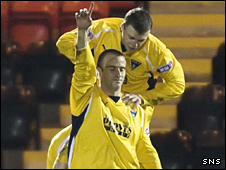 Graham Bayne celebrates his winner in the Scottish Cup tie against Airdrie