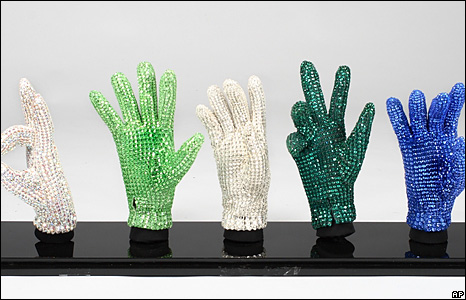 custom display of Michael Jackson's signature crstyal glove