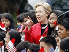 Hillary Clinton arrives in Indonesia on 18 February 2009