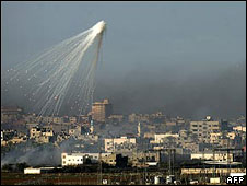 Israeli shell bursts over Gaza