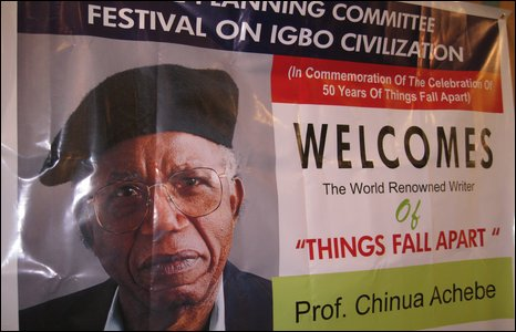 Poster welcoming the visit of novelist Chinua Achebe