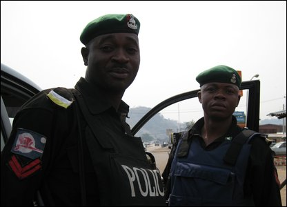 Some of the armed police which accompanied Chinua Achebe's convoy to Owerri