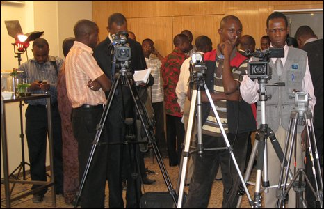 Journalists waiting to hear from Chinua Achebe