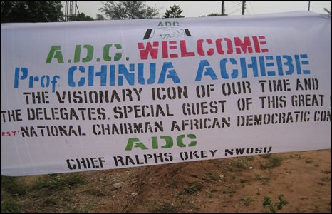A banner welcoming Chinua Achebe to Owerri
