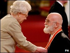 Author Sir Terry Pratchett is knighted by the Queen at Buckingham Palace