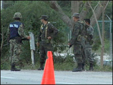 Army checkpoint in Cancun
