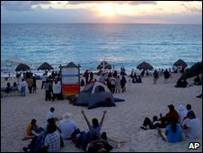File photo of Cancun beach on New Year's Day