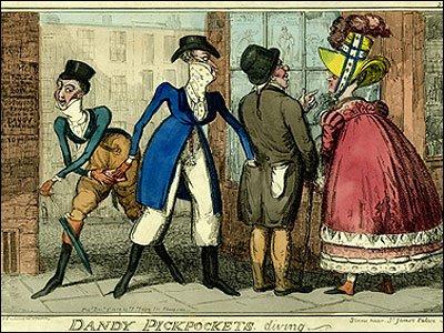 Dandy Pickpockets, diving, by Isaac Robert Cruickshank, dated 1818