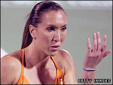 Jelena Jankovic gestures in frustration during her defeat by Kaia Kanepi