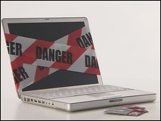 Laptop and warning tape
