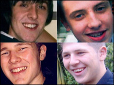 (Clockwise from top left) Ross Johnson, Joshua Drinkwater, Tom Hudson and Jay Thompson