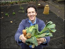 Monty Don in an allotment