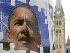 An image of Barack Obama near Parliament Hill in Ottawa, Canada