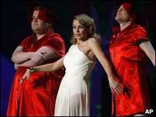 Kylie Minogue with James Corden (left) and Matthew Horne