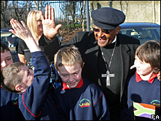 Archbishop Desmond Tutu meets children in Ireland