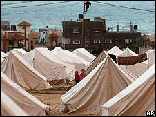 Tents housing displaced families in northern Gaza