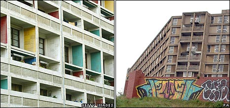 Part of Unite d'Habitation at Marseille and Park Hill estate in Sheffield