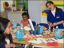 Children decorating blue papier mache globes