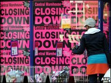 Shopper at a shop which is closing