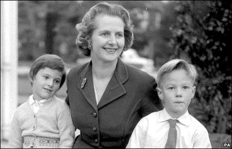 Margaret Thatcher with her children Carol and Mark in 1959