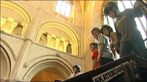 Skateboarding in abbey