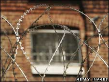 Prison bars behind barbed wire fence