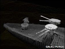 Multi-beam echo-sounder images of guns (Galsi/Fugro)