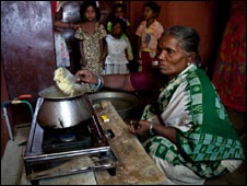 Woman making food to sell