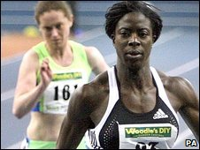 Christine Ohuruogu is in action in Birmingham