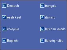 EU language options (grab from European Parliament website)