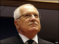Czech President Vaclav Klaus at European Parliament in Brussels, 19 Feb 09