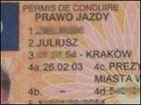 Фрагмент водительского удостоверения поляка