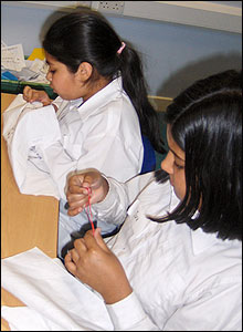 Children embroidering