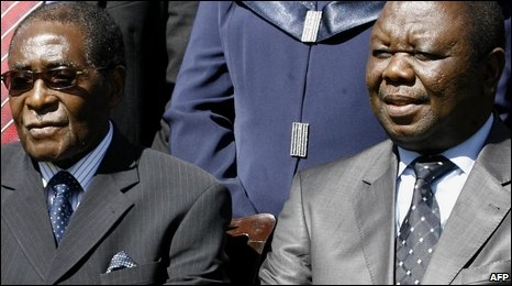 Robert Mugabe (left), Morgan Tsvangirai (right)