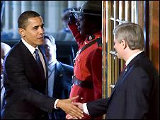 President Barack Obama (L) and Prime Minister Stephen Harper (R) - 19/2/2009