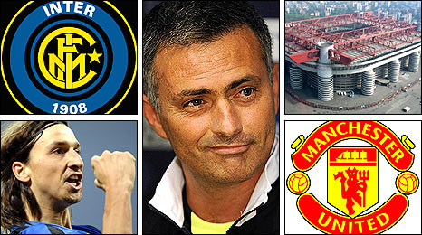 Jose Mourinho (centre) will lead his Inter Milan side, including in-form striker Zlatan Ibrahimovic (bottom left) into battle against Manchester United at the Stadio Giuseppe Meazza (top right)