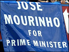 Chelsea fans fly a flag of support for Mourinho before he left Stamford Bridge
