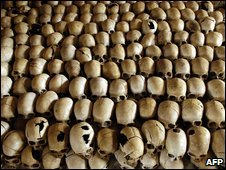 Skulls of victims at the Genocide Memorial Site church of Ntarama, Rwanda